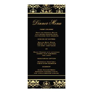 Negro y menú delgado de la cena del damasco del plantilla de lona