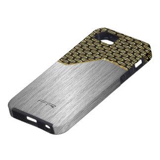 Negro y mirada de aluminio cepillada oro iPhone 5 fundas