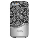 Negro y mirada metálica de la plata con damascos funda de iPhone 6 tough