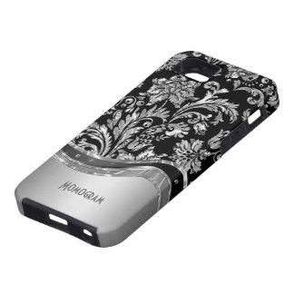 Negro y mirada metálica de la plata con damascos funda para iPhone 5 tough