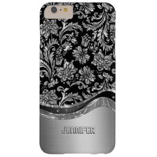 Negro y mirada metálica de la plata con damascos funda barely there iPhone 6 plus