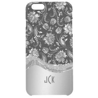 Negro y mirada metálica de la plata con damascos funda clear para iPhone 6 plus