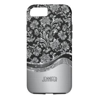 Negro y mirada metálica de la plata con damascos funda iPhone 7