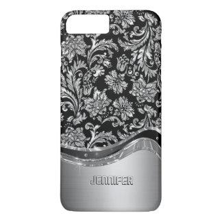 Negro y mirada metálica de la plata con damascos funda iPhone 7 plus