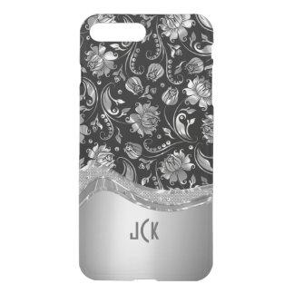 Negro y mirada metálica de la plata con damascos fundas para iPhone 7 plus