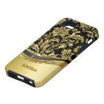 Negro y mirada metálica del oro con damascos iPhone 5 coberturas