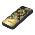 Negro y mirada metálica del oro con damascos iPhone 5 Case-Mate coberturas