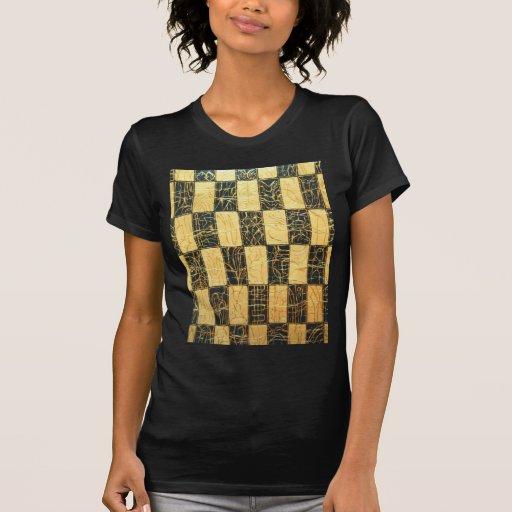 Negro y modelo a cuadros japonés del oro t-shirts