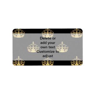 Negro y modelo de la corona del oro etiqueta de dirección