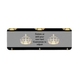 Negro y modelo de la corona del oro etiqueta de remitente