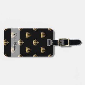 Negro y modelo de la corona del oro etiquetas de maletas