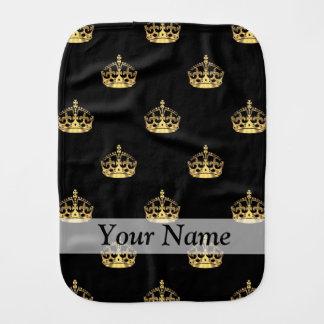 Negro y modelo de la corona del oro paños para bebé