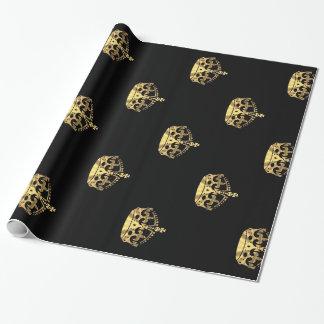 Negro y modelo de la corona del oro papel de regalo