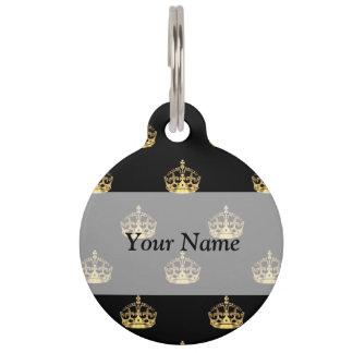 Negro y modelo de la corona del oro placa para mascotas
