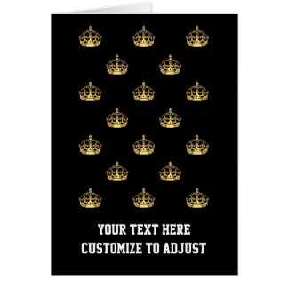 Negro y modelo de la corona del oro tarjeta de felicitación