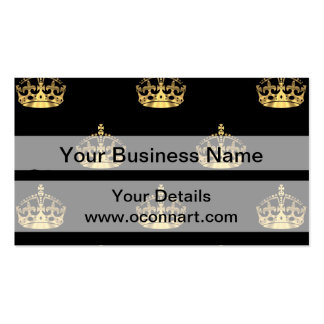 Negro y modelo de la corona del oro tarjetas de visita