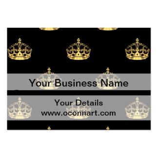 Negro y modelo de la corona del oro tarjetas de visita grandes