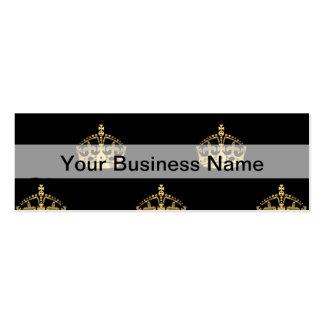 Negro y modelo de la corona del oro tarjetas de visita mini