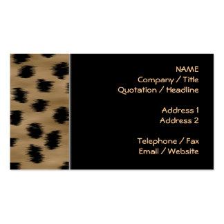 Negro y modelo de la impresión del guepardo de Bro Plantilla De Tarjeta De Negocio