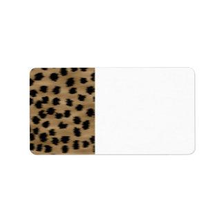Negro y modelo de la impresión del guepardo de etiqueta de dirección