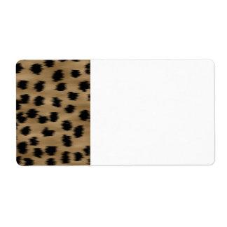 Negro y modelo de la impresión del guepardo de etiquetas de envío