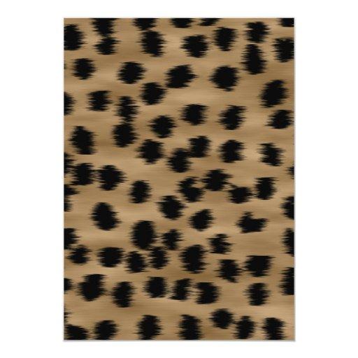 Negro y modelo de la impresión del guepardo de invitación 12,7 x 17,8 cm