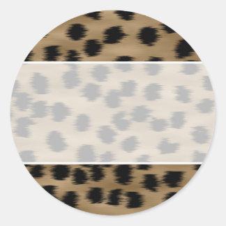 Negro y modelo de la impresión del guepardo de pegatina redonda