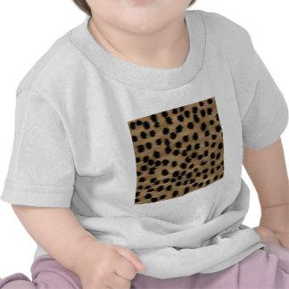 Negro y modelo de la impresión del guepardo de camiseta