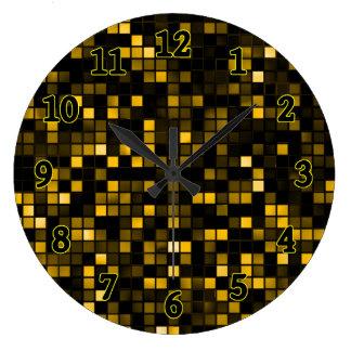 """Negro y modelo de los cuadrados de la """"lluvia de m reloj de pared"""