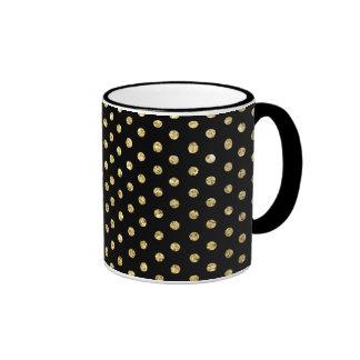 Negro y modelo de lunares del oro taza de dos colores