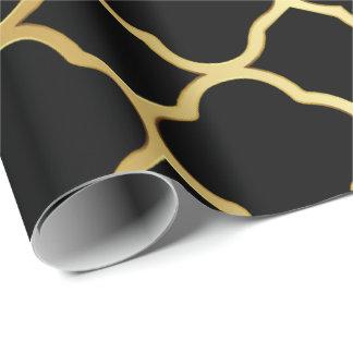 Negro y modelo de Quatrefoil del oro Papel De Regalo