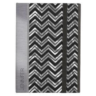 Negro y modelo de zigzag de Chevron de la plata
