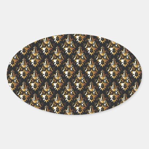 Negro y modelo del damasco del oro pegatina ovalada