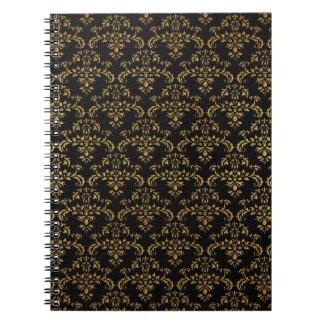 Negro y modelo del damasco del oro spiral notebook