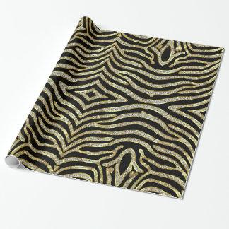 Negro y modelo del estampado de zebra del brillo papel de regalo