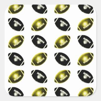 Negro y modelo del fútbol del oro pegatinas cuadradases personalizadas
