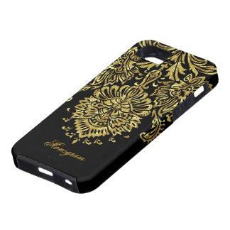 Negro y modelo floral adornado de los damascos del iPhone 5 funda