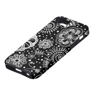 Negro y modelo floral retro del cordón de Whire iPhone 5 Carcasas