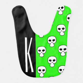 Negro y modelo verde de neón de los cráneos babero