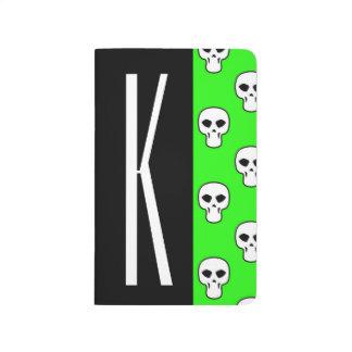 Negro y modelo verde de neón de los cráneos cuadernos
