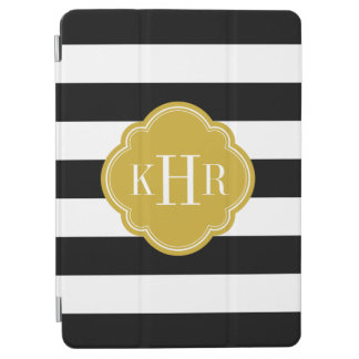 Negro y monograma ancho de las rayas del oro cubierta de iPad air