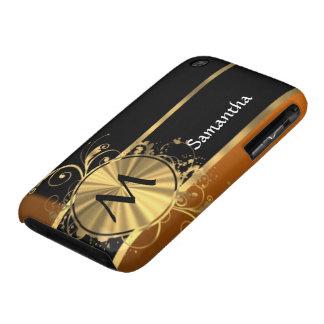 Negro y monograma de cobre personalizados iPhone 3 Case-Mate cobertura