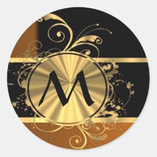 Negro y monograma de cobre personalizados pegatina redonda