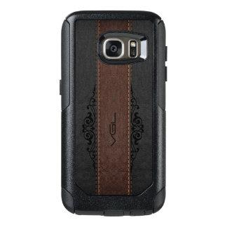 Negro y monograma de la textura del cuero de Brown Funda Otterbox Para Samsung Galaxy S7