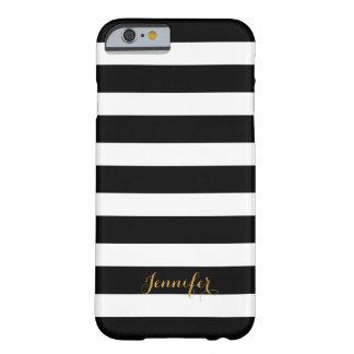 Negro y monograma de las rayas de la obra clásica funda de iPhone 6 barely there