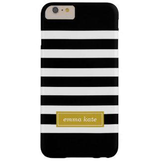 Negro y monograma de muy buen gusto de las rayas funda de iPhone 6 plus barely there