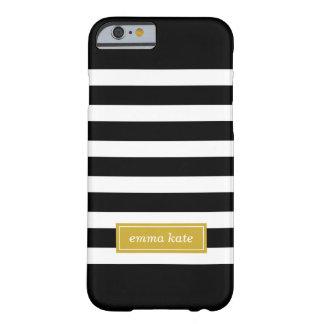 Negro y monograma de muy buen gusto de las rayas funda de iPhone 6 barely there