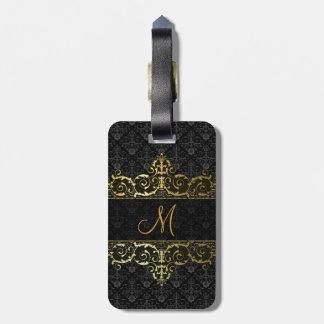 Negro y monograma floral del damasco y del marco d etiquetas para equipaje