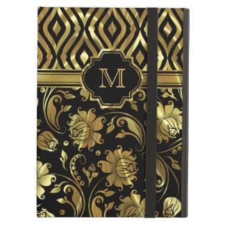 Negro y monograma floral y geométrico del oro de l