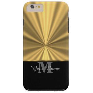 Negro y monograma metálico del oro falso funda de iPhone 6 plus tough